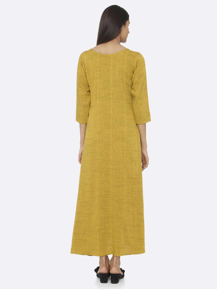 Back Side Mustard Embellished Rayon A-Line Maxi Dress
