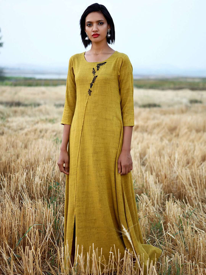 Front Side Mustard Embellished Rayon A-Line Maxi Dress