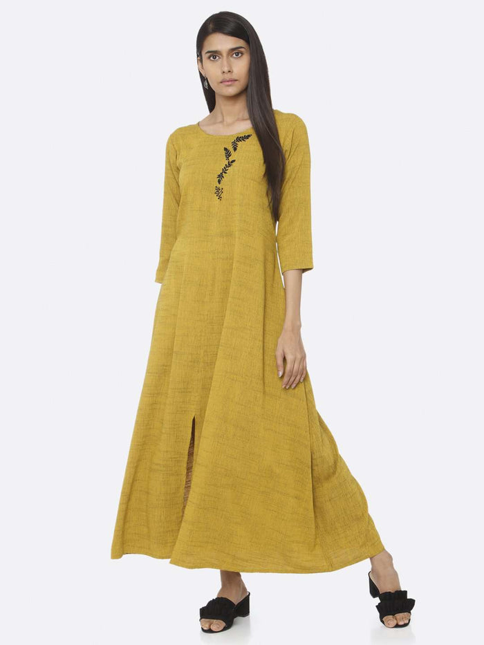 Casual Mustard Embellished Rayon A-Line Maxi Dress