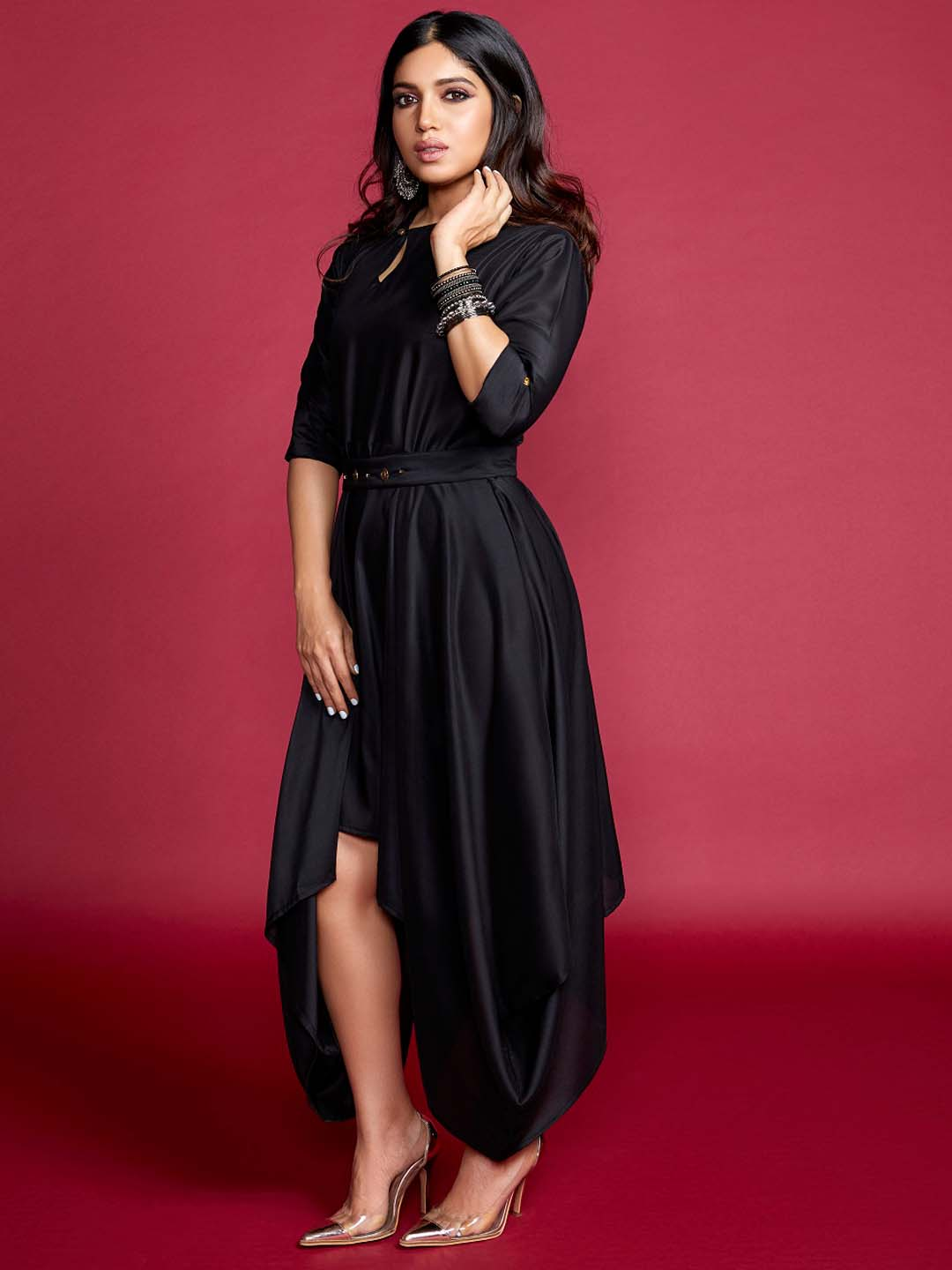 Black Solid Silk A-Line Dress