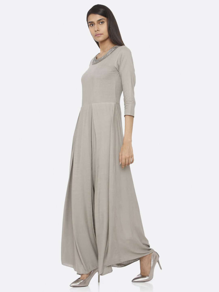 Left Side Silver Grey Embellished Rayon Slub A-Line Maxi Dress