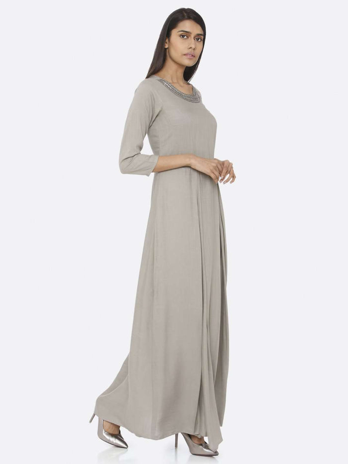 Right Side Silver Grey Embellished Rayon Slub A-Line Maxi Dress