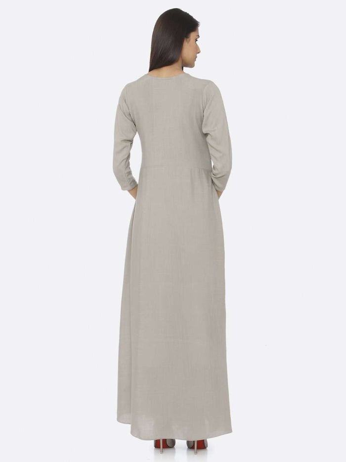 Back Side Silver Grey Embellished Rayon Slub A-Line Maxi Dress