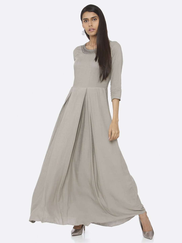 Casual Silver Grey Embellished Rayon Slub A-Line Maxi Dress