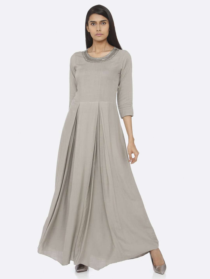 Front Side Embellished Rayon Slub A-Line Maxi Dress With Silver Grey Color