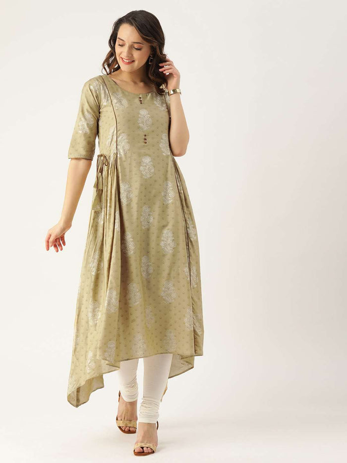 Beige Printed Cotton Satin A-Line Dress