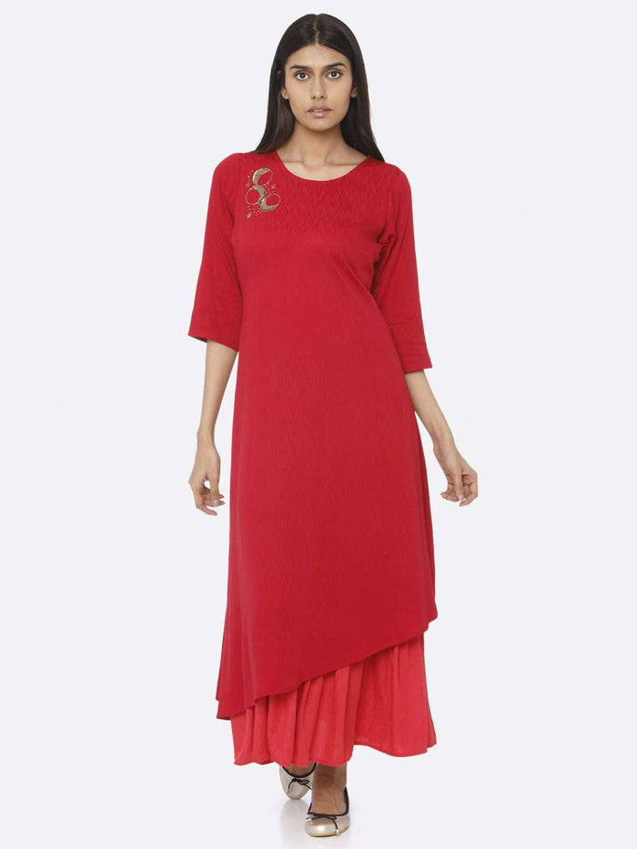 Red Embellished Viscose Liva A-Line Maxi Dress