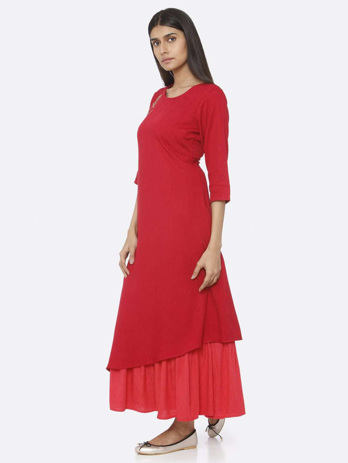 Left Side Red Embellished Viscose Liva A-Line Maxi Dress