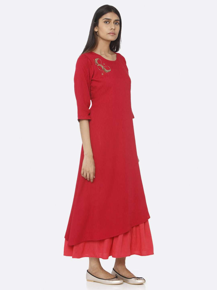 Right Side Red Embellished Viscose Liva A-Line Maxi Dress