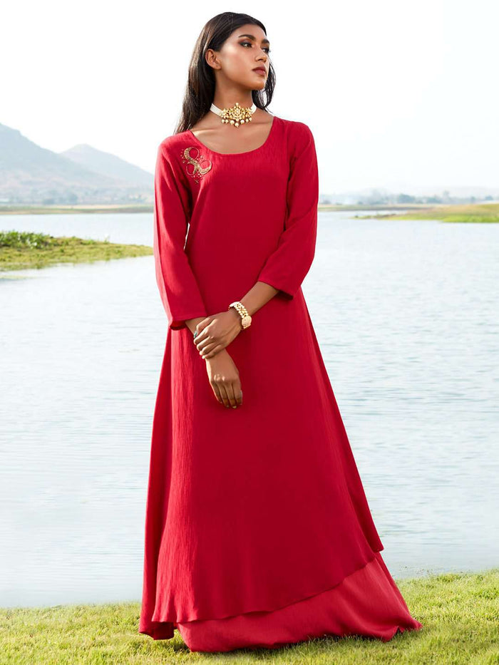 Front Side Red Embellished Viscose Liva A-Line Maxi Dress