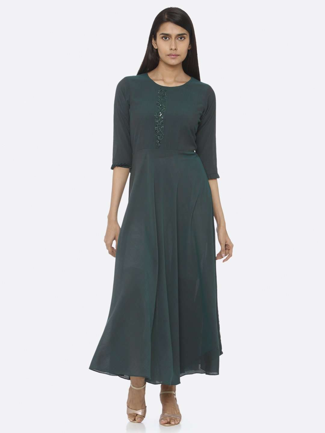 Front Side Embellished Chiffon Slub A-Line Dress With Green Color