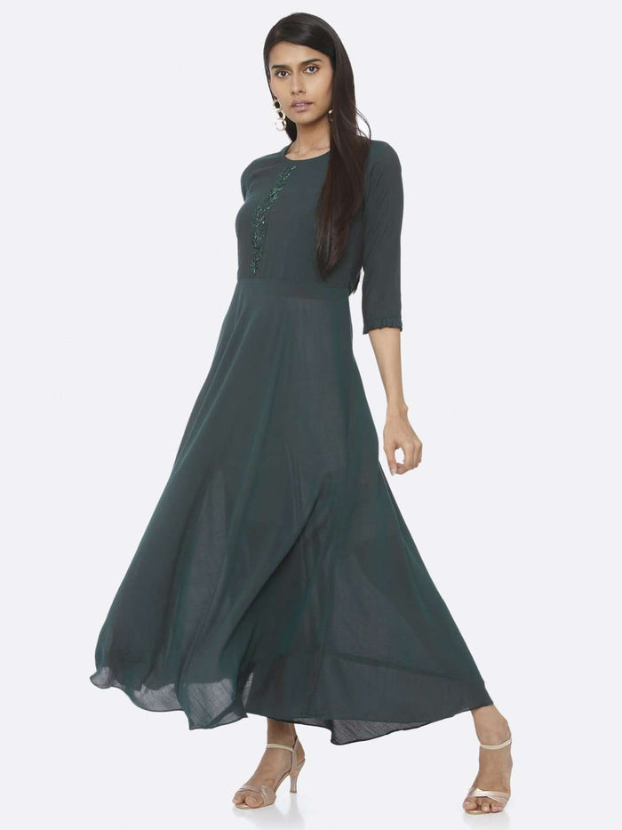 Green Embellished Chiffon Slub A-Line Maxi Dress