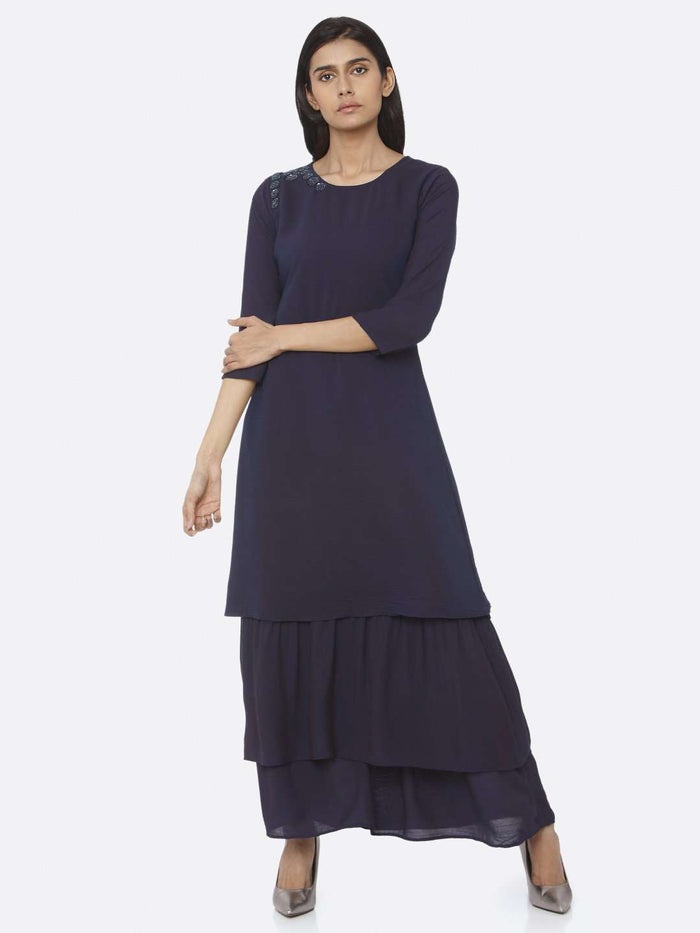 Navy Blue Embellished Muslin A-Line Maxi Dress