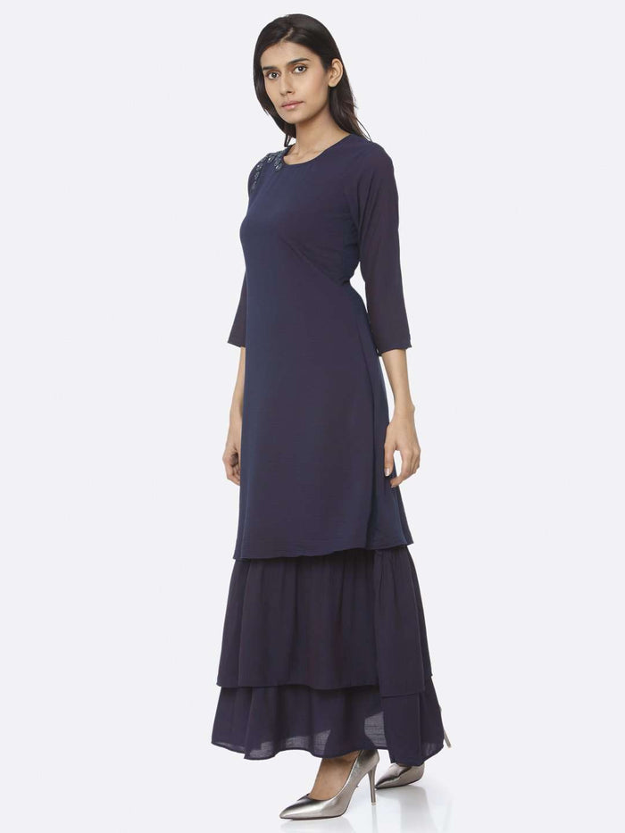 Left Side Navy Blue Embellished Muslin A-Line Maxi Dress