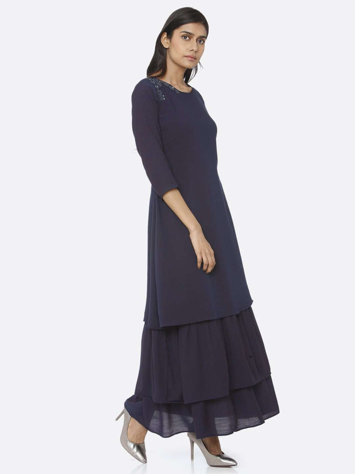 Right Side Navy Blue Embellished Muslin A-Line Maxi Dress
