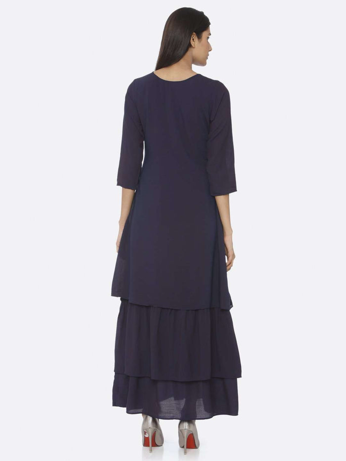 Back Side Navy Blue Embellished Muslin A-Line Maxi Dress