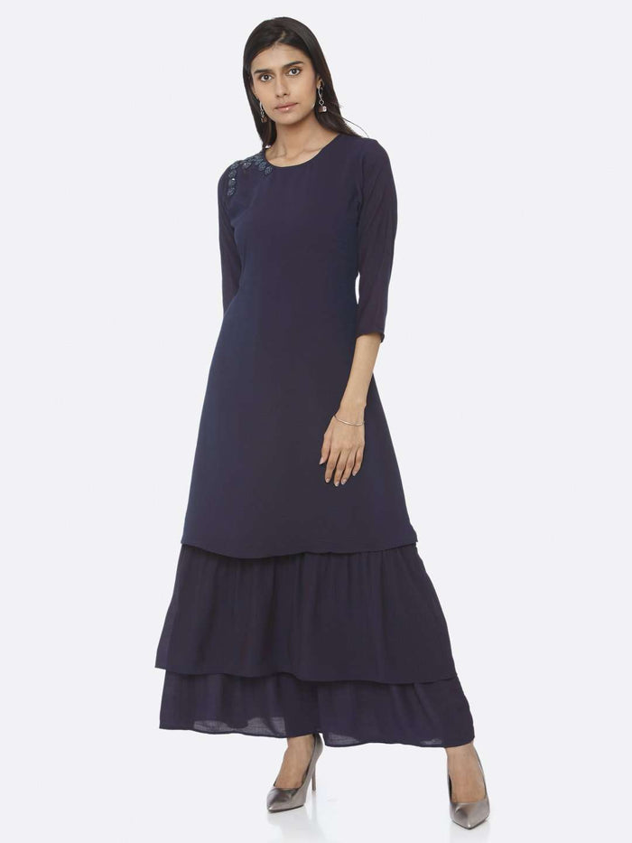 Casual Navy Blue Embellished Muslin A-Line Maxi Dress