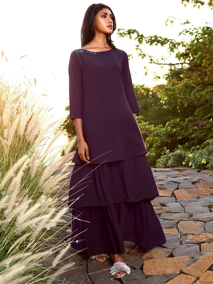 Front Side Navy Blue Embellished Muslin A-Line Maxi Dress