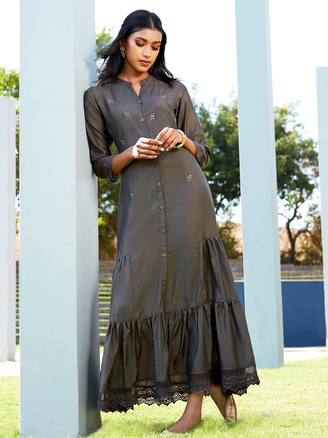 Front Side Dark Grey Embroidered Viscose Liva A-Line Maxi Dress
