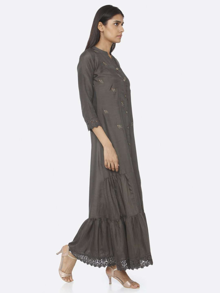 Right Side Dark Grey Embroidered Viscose Liva A-Line Maxi Dress