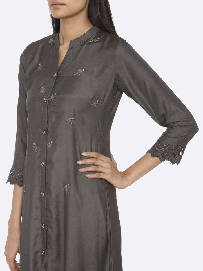 Left Side Embroidered Viscose Liva A-Line Maxi Dress With Dark Grey Color