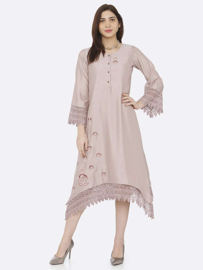 Light Pink Embroidered A-Line Dress