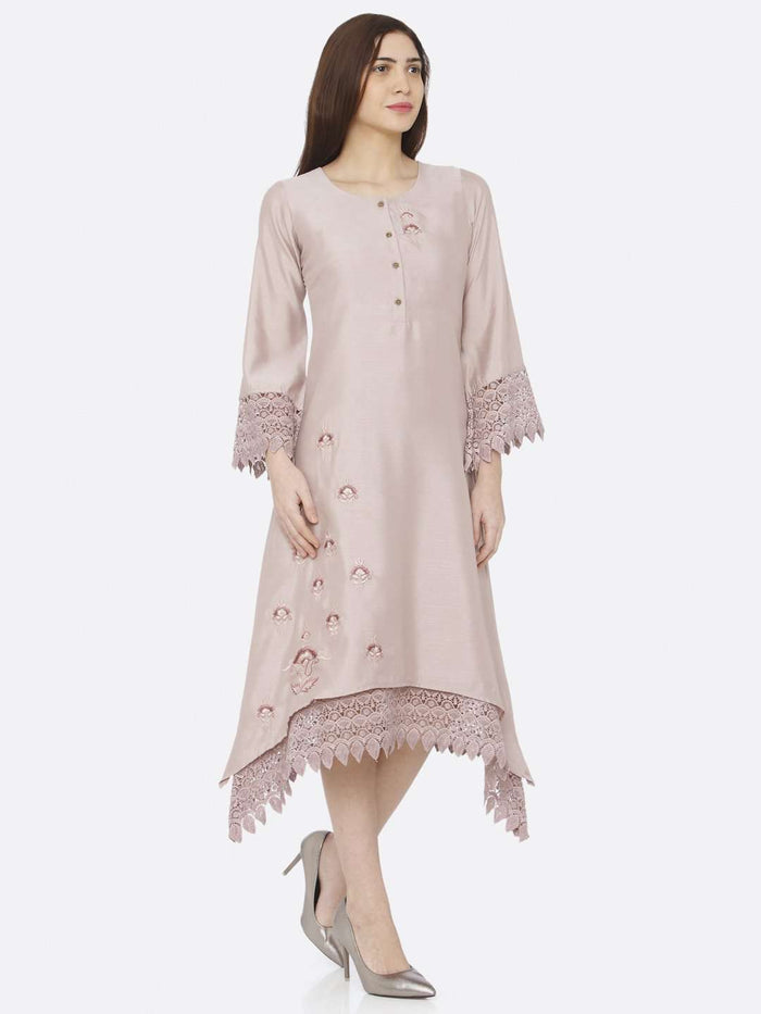 Right Side Light Pink Embroidered A-Line Dress