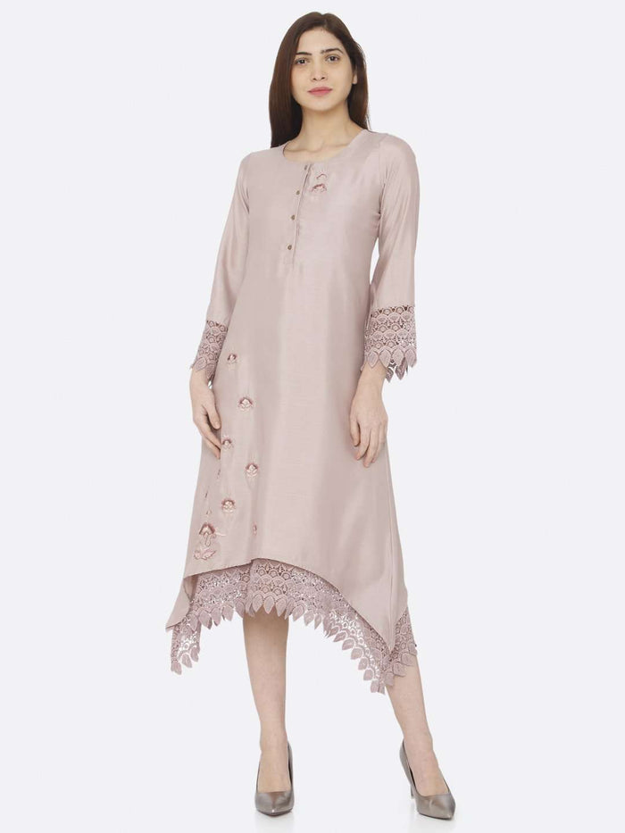 Front Side Light Pink Embroidered A-Line Dress