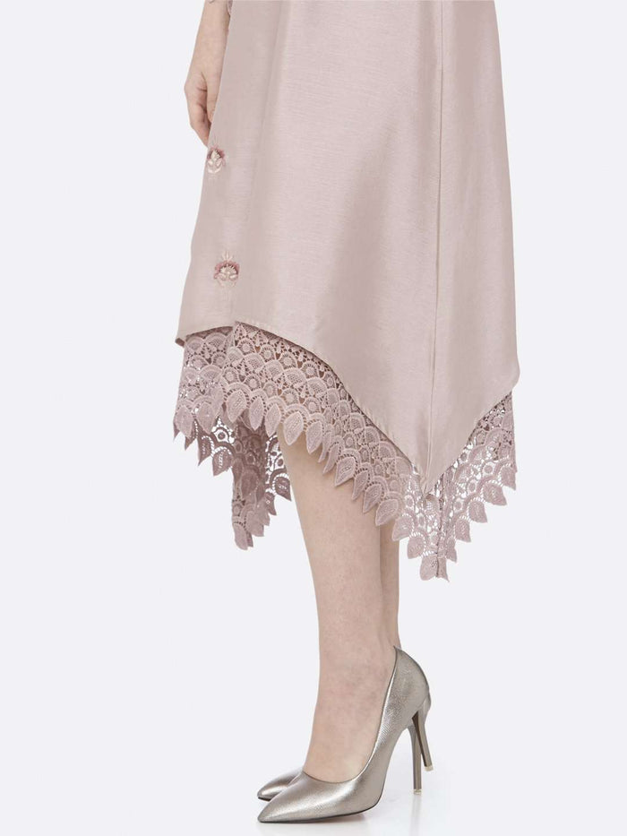 Down Side Light Pink Embroidered A-Line Dress