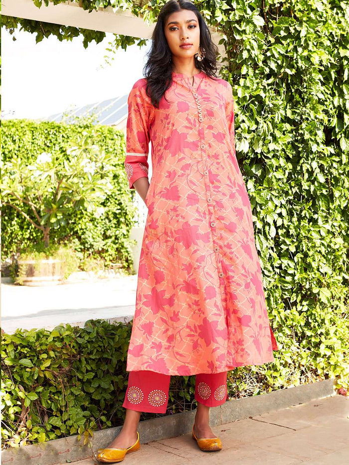 Peach Printed Cotton Satin Straight Kurta Set