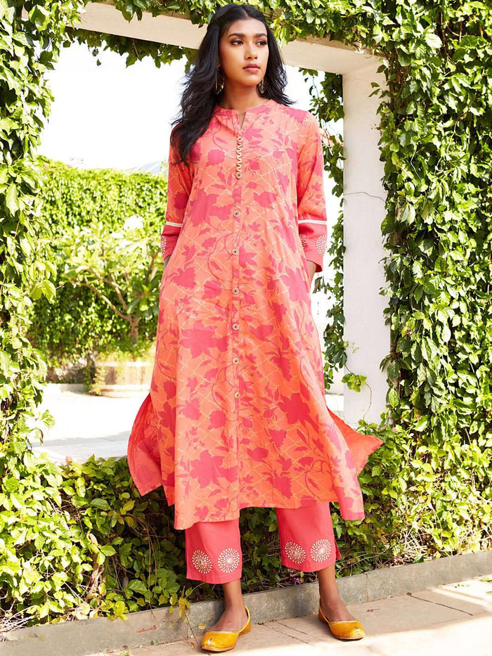 Front Side Peach Printed Cotton Satin Straight Kurta Set