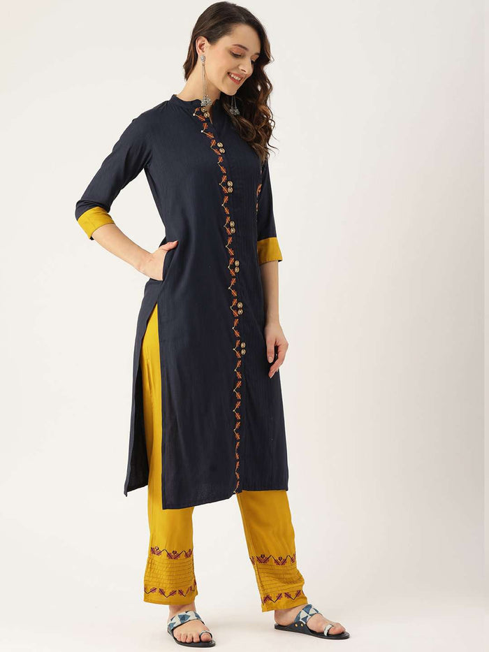 Right Side Blue Embroidered Viscose Rayon Straight Kurta With Yellow Pant