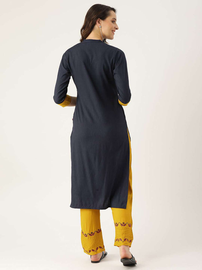 Back Side Blue Embroidered Viscose Rayon Straight Kurta With YellowPant