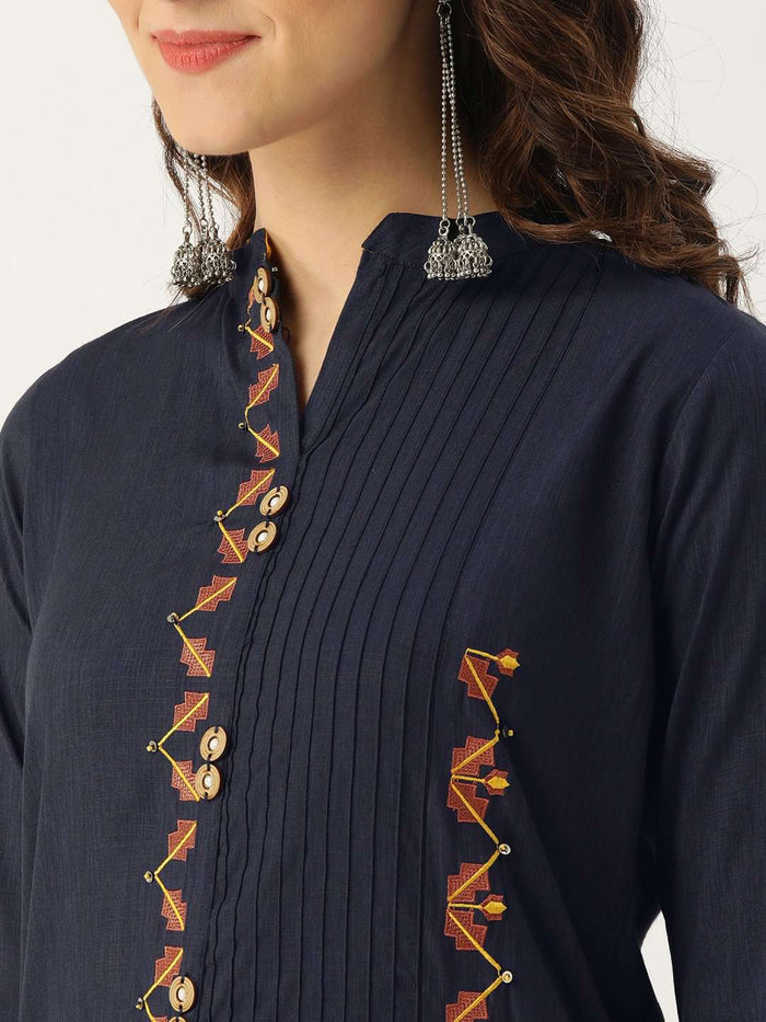 Front Side Embroidered Viscose Rayon Straight Kurta With Blue Color