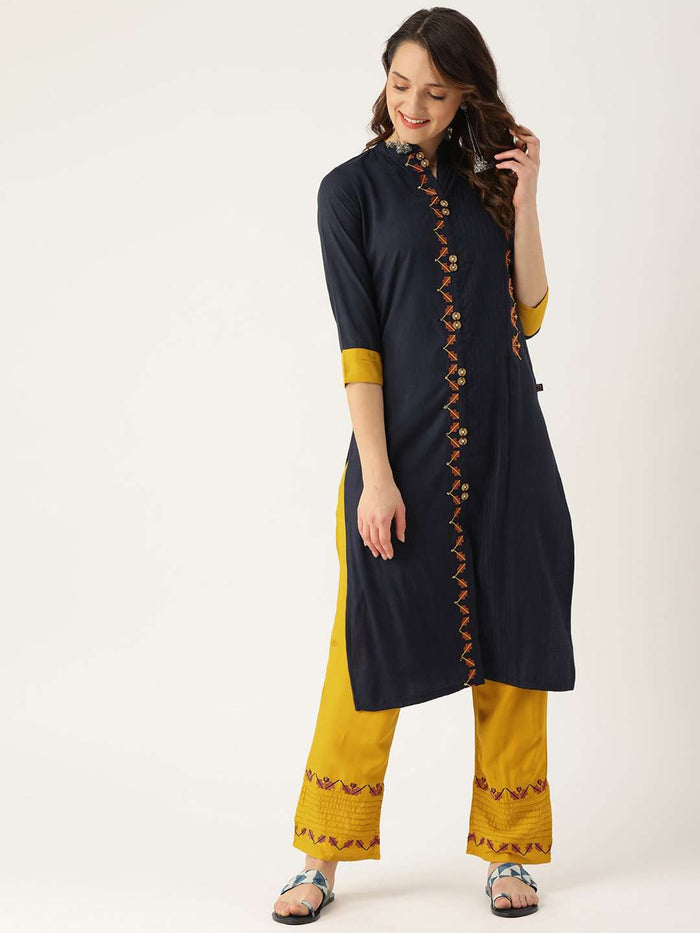 Front Side Blue Embroidered Viscose Rayon Straight Kurta With Yellow Pant