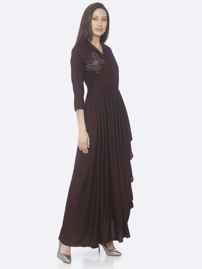 Right Side Purple Embellished Silk Assymetrical Dress