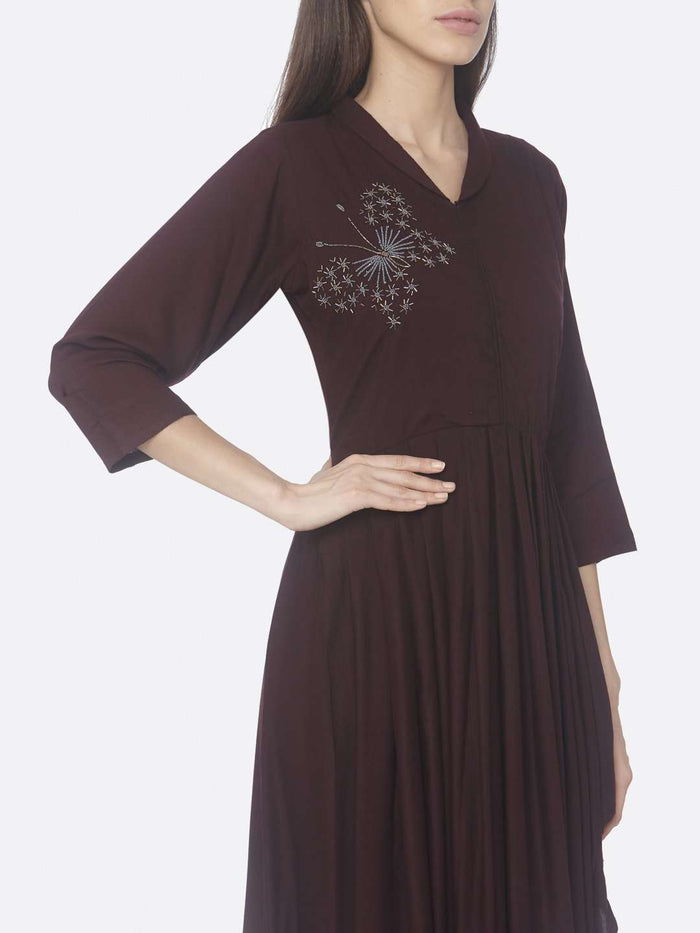 Right Side Embroidered Silk Asymmetrical Dress With Purple Color
