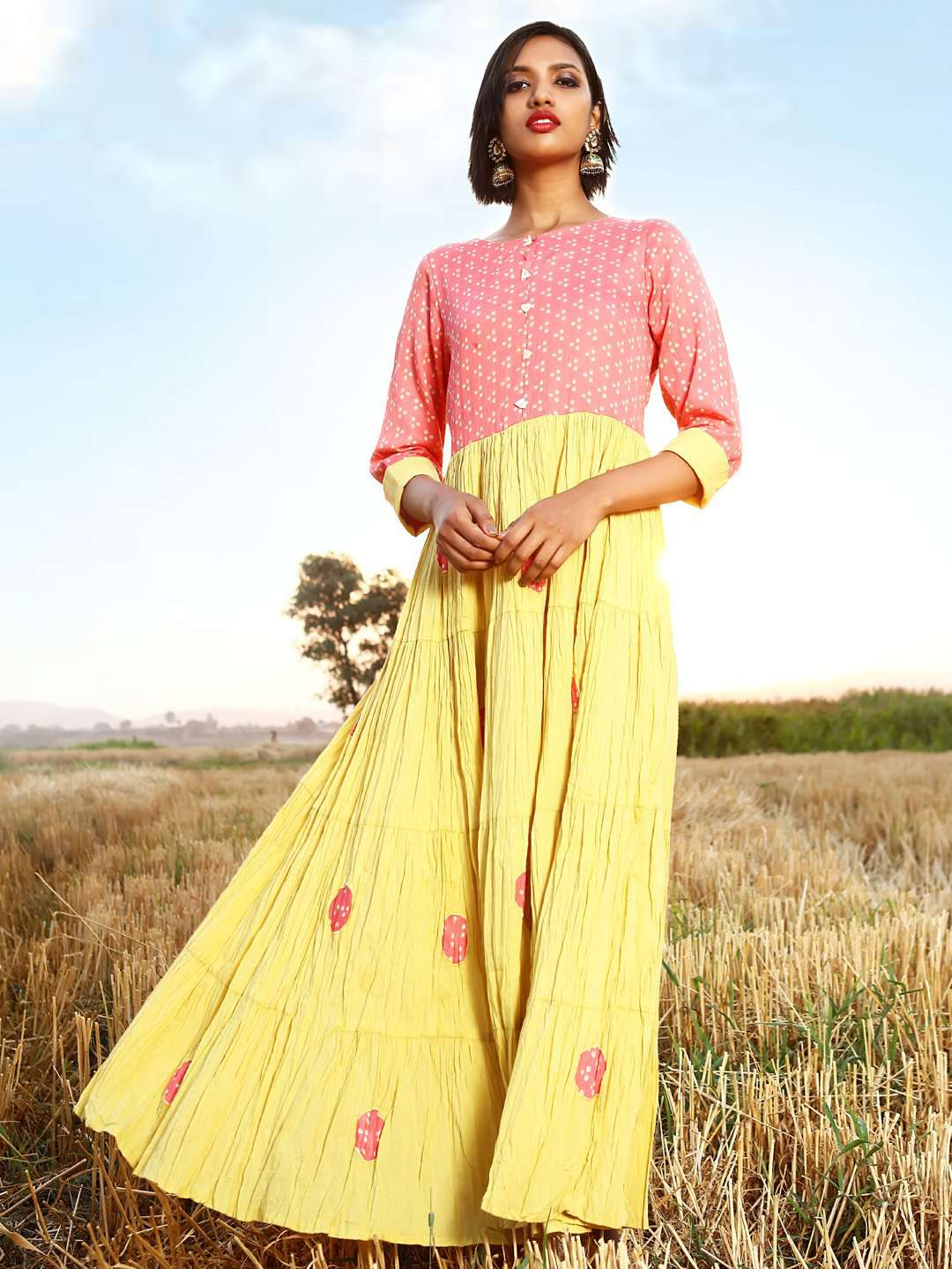 Front Side Yellow Printed Cotton A-Line Maxi Dress