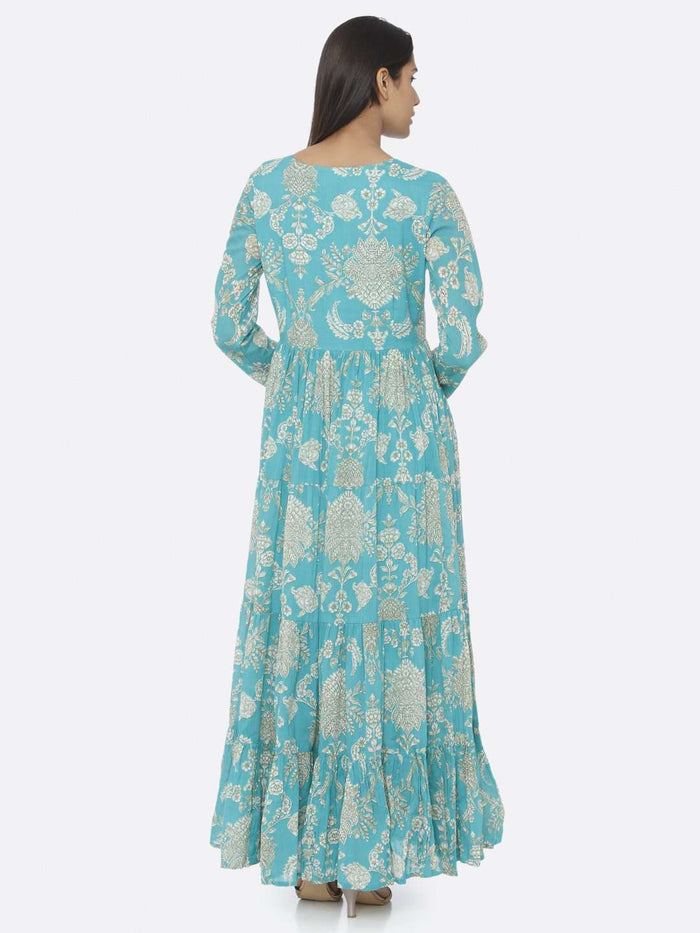 Turquoise Printed Cotton A-Line Maxi Dress