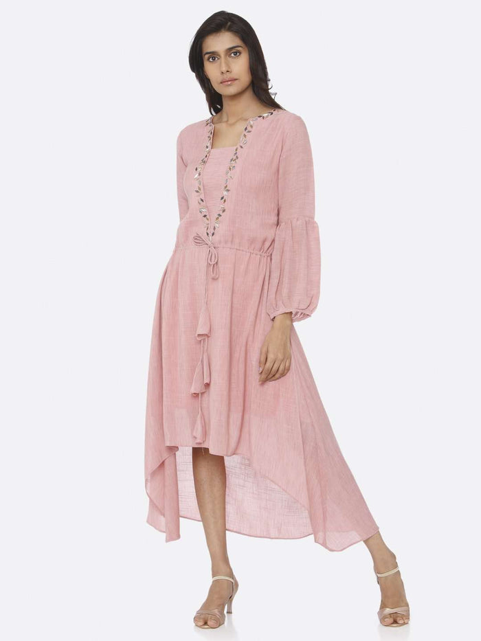 Front Side Embellished Rayon A-Line Dress With Pink Color