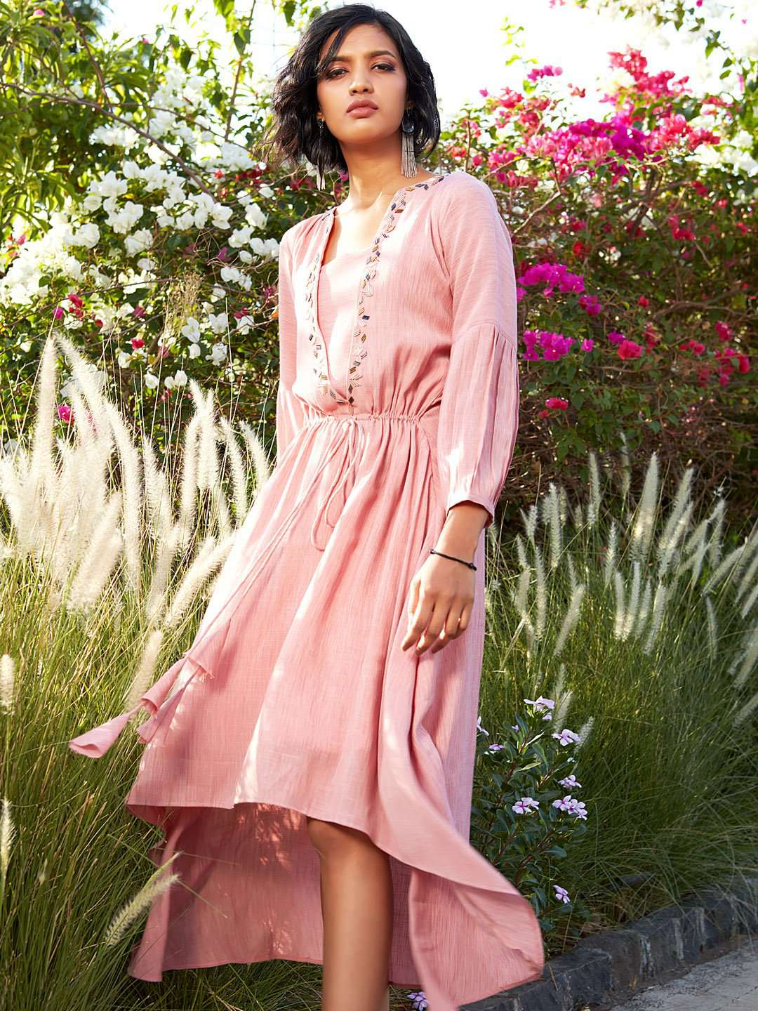 Pink Embellished Rayon A-Line Dress