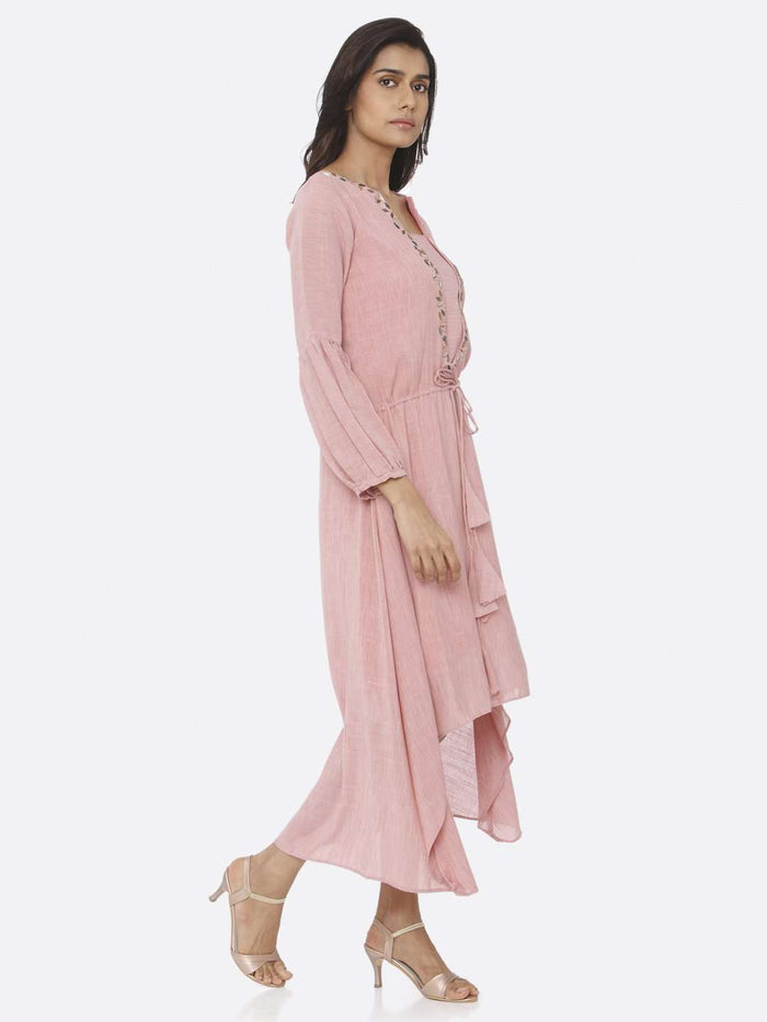 Right Side Pink Embellished Rayon A-Line Dress