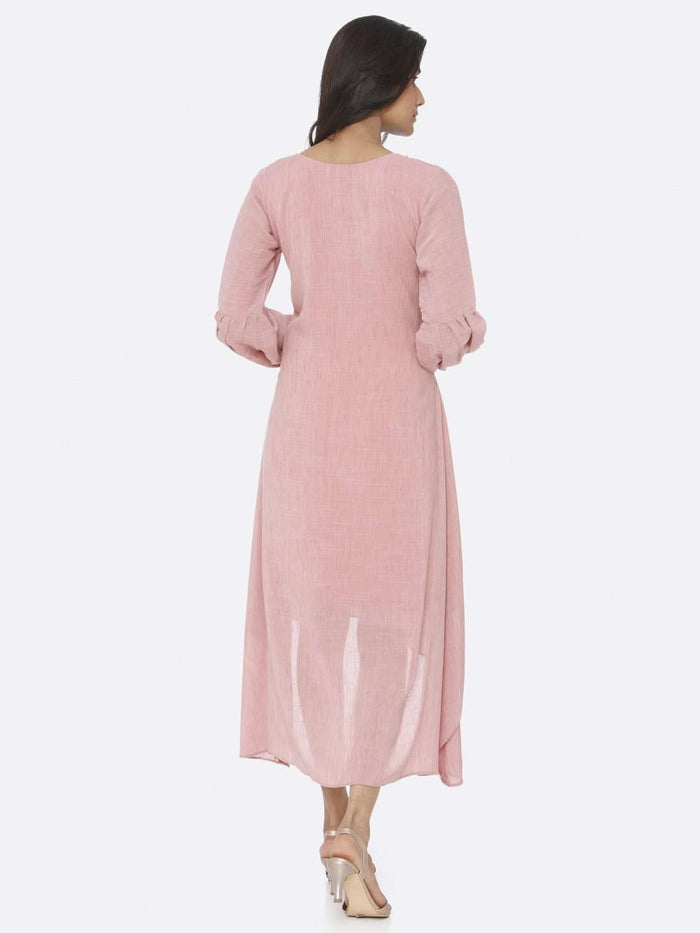 Back Side Pink Embellished Rayon A-Line Dress