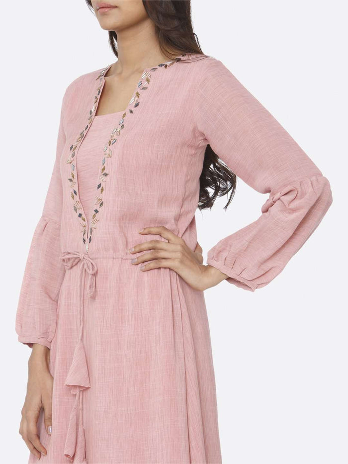 Left Side Embellished Rayon A-Line Dress With Pink Color