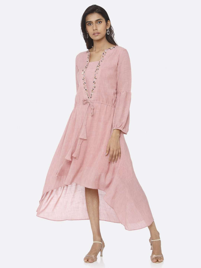 Casual Pink Embellished Rayon A-Line Dress