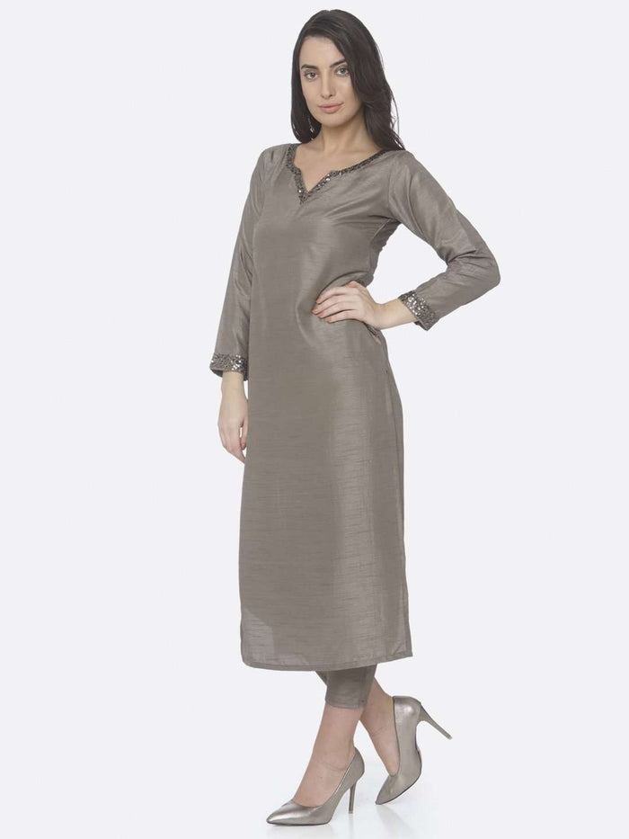 Front Side Grey Embellished Silk Straight Kurta Set