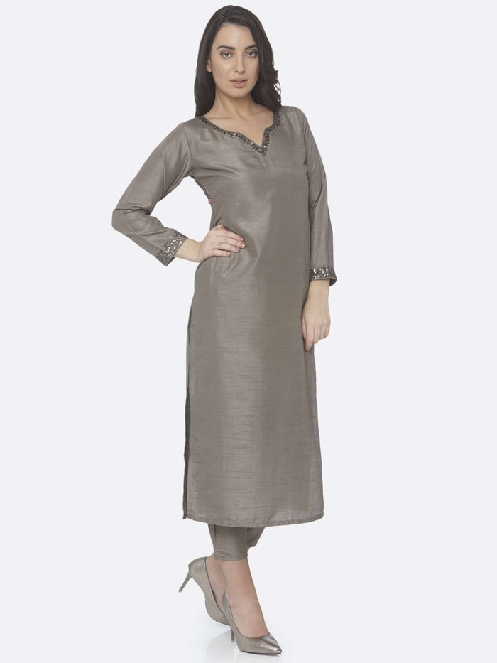 Right Side Grey Embellished Silk Straight Kurta Set With Grey Palazzo Pant