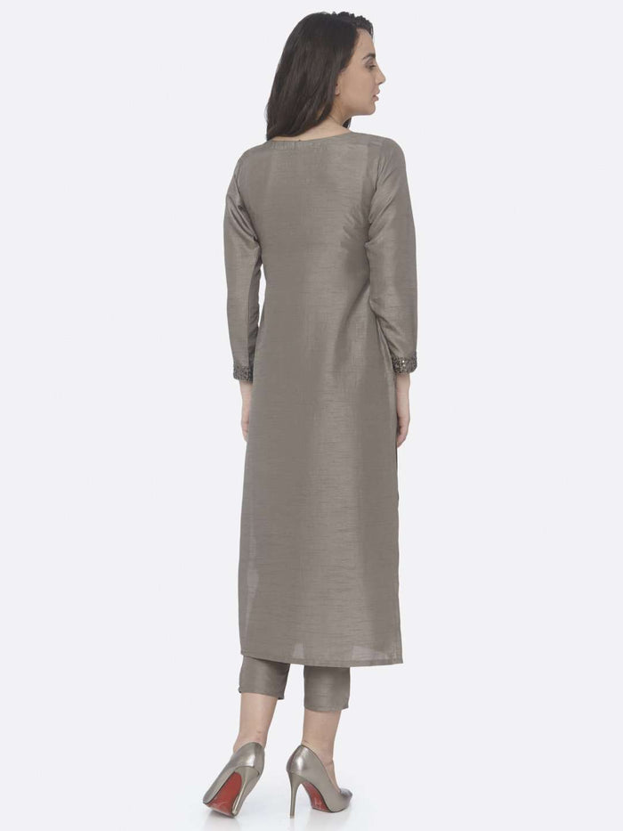 Back Side Grey Embellished Silk Straight Kurta Set With Grey Palazzo Pant