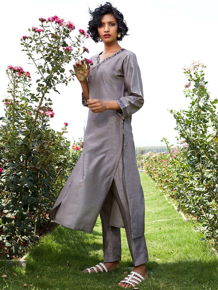 Left Side Embroidered Silk Straight Kurta Set With Grey Color