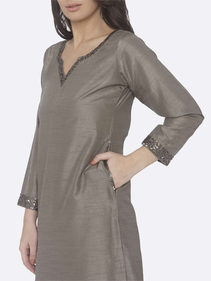 Left Side Embellished Silk Straight Kurti Set With Grey Color